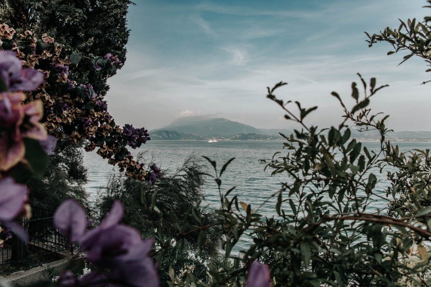 Photo of Lake Garda near Bergamo, Italy with purple flowers and plants in the foreground