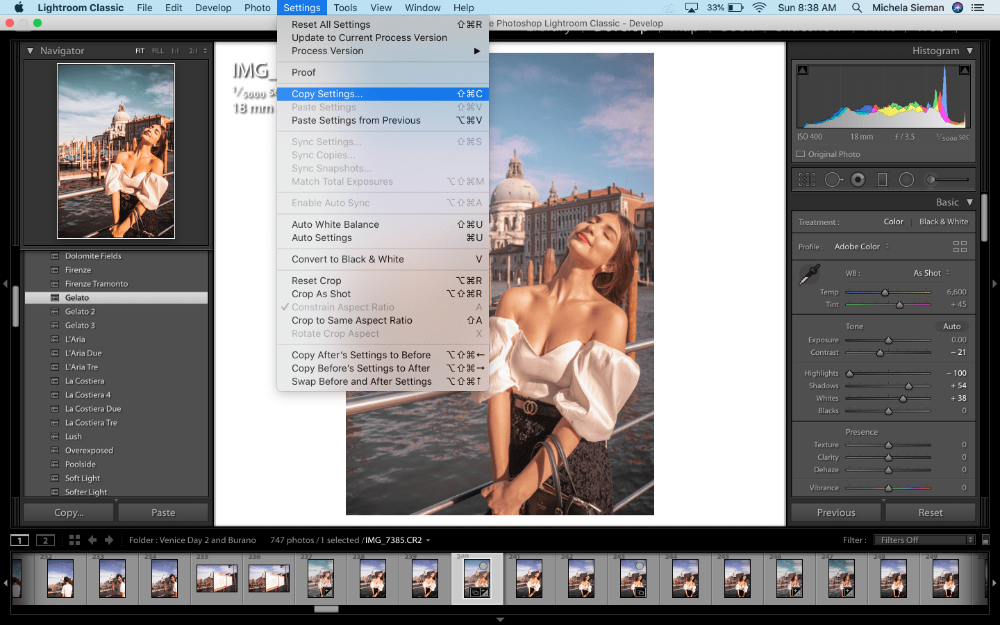 Copy and Paste Settings - Adobe Lightroom shortcut