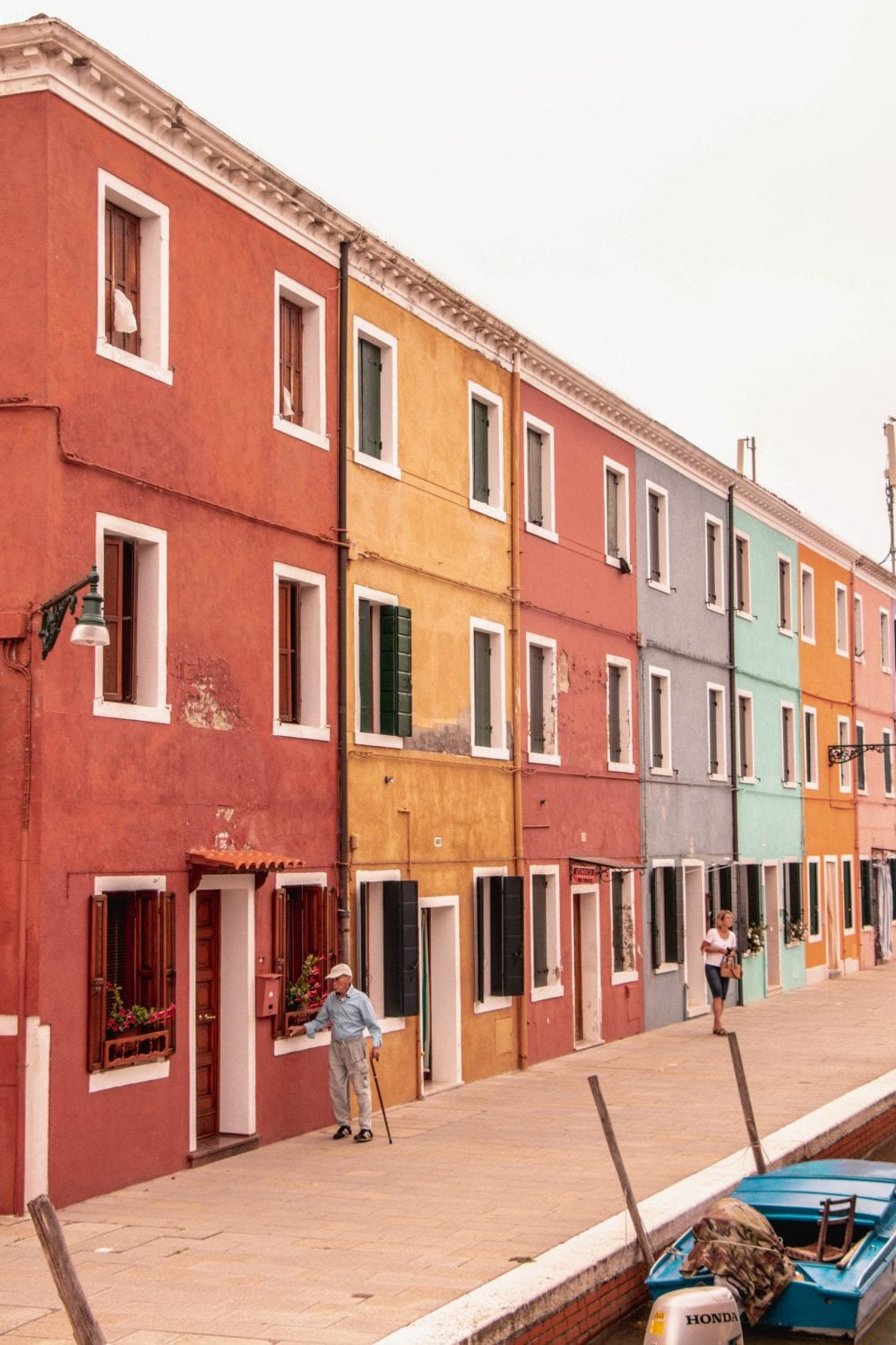 A row of colorful houses in Burano, Italy
