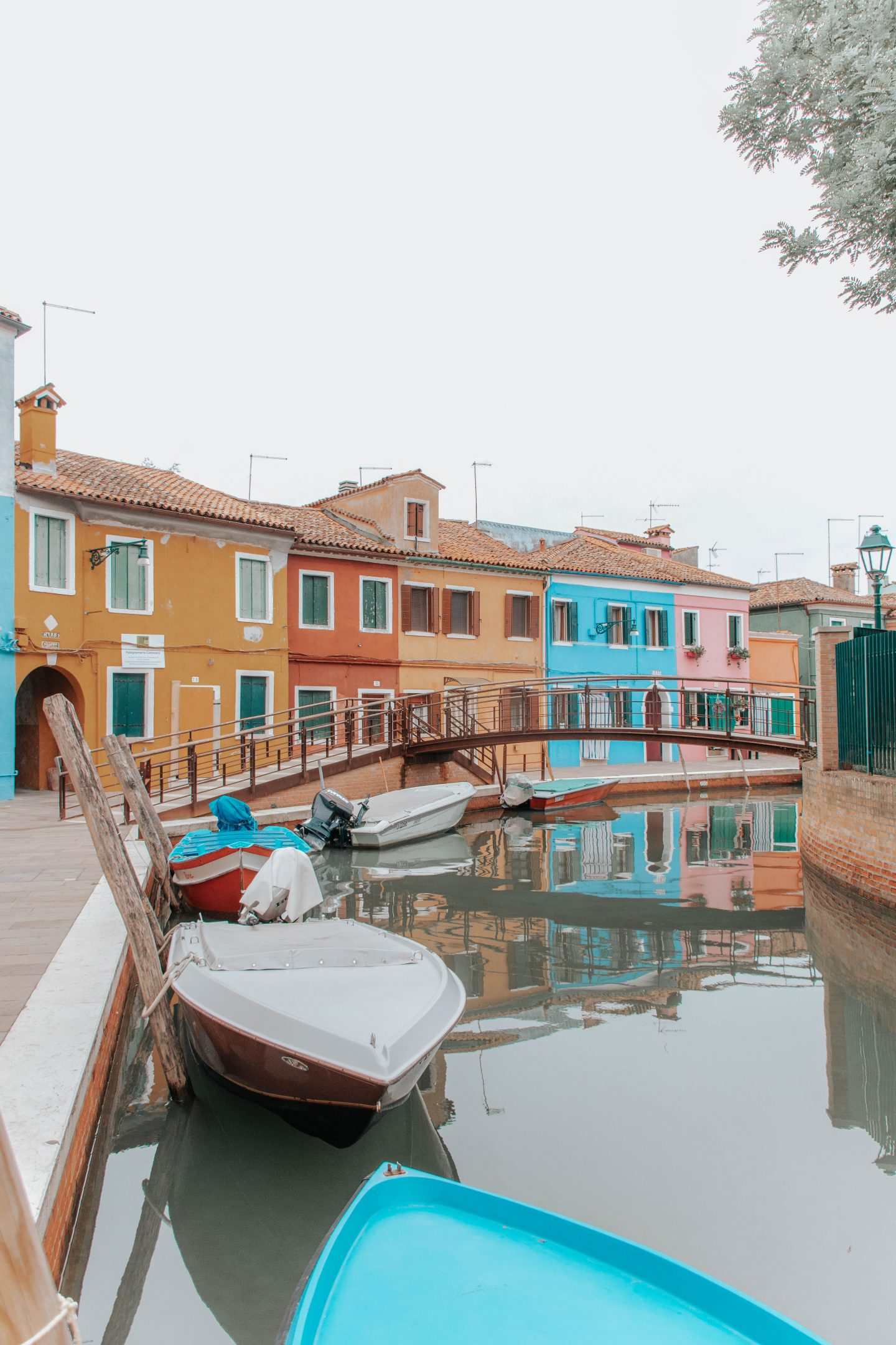 Colorful buildings along a canal in Burano